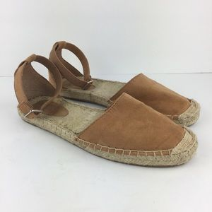 H&M Tan Espadrille Slip Ons with Ankle Straps